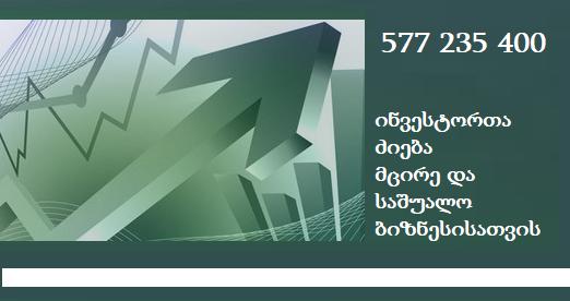 ინვესტორთა მოძიება 577 235 400